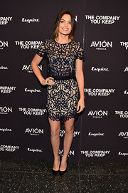 Alyssa Miller's lace mini matched her blouse and completed her evening look.