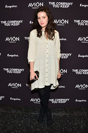 Aleksa Palladino opted for this free-flowing lace shirtdress for her boho evening look.