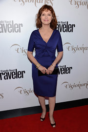 Susan Sarandon opted for this figure-flattering cocktail dress with a gathered bust for her red carpet look.
