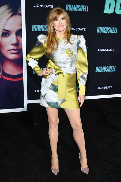 Connie Britton Evening Pumps [bombshell,clothing,hairstyle,fashion model,fashion,yellow,leg,cocktail dress,dress,footwear,premiere,red carpet,connie britton,screening,california,regency village theatre,special screening of liongate,westwood]