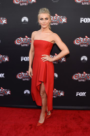 Julianne Hough chose a flirty red J. Mendel strapless dress with a high-low hem for the 'Grease: Live' FYC event.