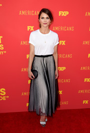 Keri Russell donned a sheer black maxi skirt with a white underlay for a chicer, more formal finish.
