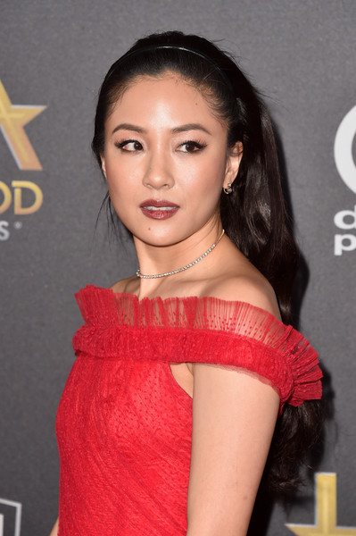 Constance Wu Diamond Choker Necklace [hair,hairstyle,lip,eyebrow,skin,beauty,shoulder,chin,long hair,cheek,the beverly hilton hotel,beverly hills,california,22nd annual hollywood film awards - arrivals,annual hollywood film awards,constance wu]
