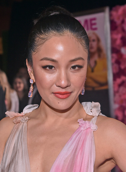 Constance Wu Dangling Crystal Earrings [isnt it romantic,hair,face,lip,eyebrow,hairstyle,skin,beauty,chin,eyelash,fashion,constance wu,ace hotel,california,los angeles,the theatre,warner bros. pictures,red carpet,world premiere]