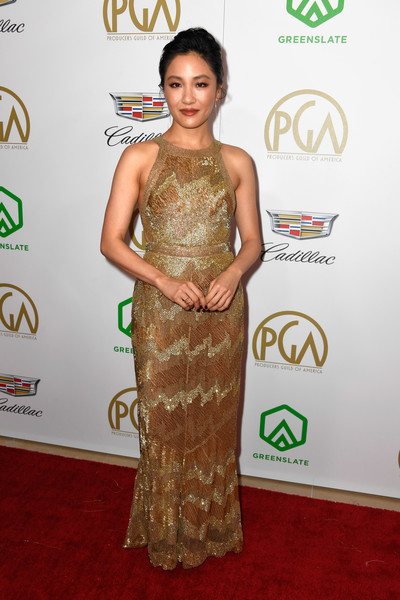 Constance Wu Beaded Dress [red carpet,shoulder,clothing,carpet,dress,flooring,joint,cocktail dress,neck,gown,arrivals,constance wu,the beverly hilton hotel,beverly hills,california,annual producers guild awards]