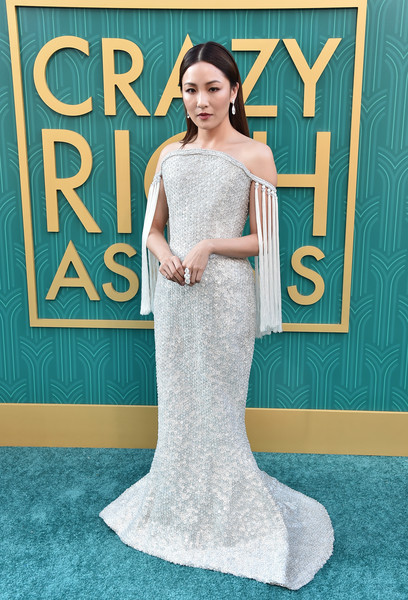 Constance Wu Off-the-Shoulder Dress [crazy rich asians,crazy rich asiaans,gown,dress,wedding dress,bridal clothing,beauty,flooring,shoulder,formal wear,carpet,fashion,premiere - arrivals,constance wu,california,hollywood,warner bros. pictures,tcl chinese theatre imax,premiere]