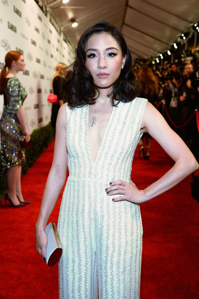Constance Wu Metallic Nail Polish [red carpet,fashion model,clothing,carpet,flooring,dress,fashion,premiere,cocktail dress,event,red carpet,constance wu,neuehouse hollywood,california,los angeles,glamour women of the year]