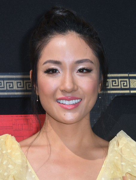 Constance Wu Hair Knot [the lego ninjago movie,photo,hair,face,eyebrow,lip,hairstyle,skin,chin,beauty,nose,forehead,arrivals,constance wu,mayor,voice,warner bros. pictures,afp,premiere,premiere]
