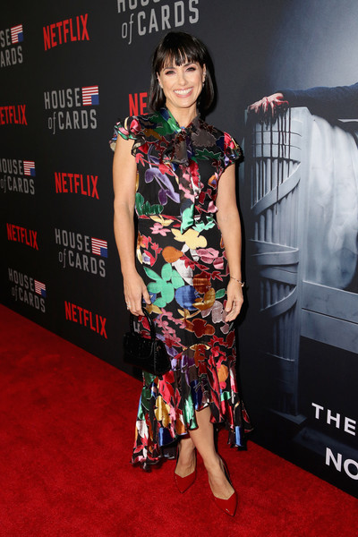 Constance Zimmer Print Dress [house of cards,red carpet,carpet,premiere,fashion,flooring,event,fashion design,dress,style,fashion model,constance zimmer,los angeles,california,world premiere]