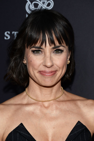 Constance Zimmer Bob [hair,hairstyle,face,eyebrow,bangs,chin,lip,forehead,black hair,layered hair,constance zimmer,montage beverly hills,california,television academy,performers peer group celebration - arrivals,performers peer group celebration]