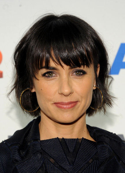 Constance Zimmer Bob [hair,face,hairstyle,bangs,eyebrow,chin,black hair,layered hair,lip,forehead,a e networks,constance zimmer,new york city,arrivals]