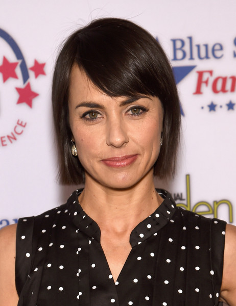 Constance Zimmer Short Cut With Bangs [hair,hairstyle,face,eyebrow,chin,bangs,forehead,lip,brown hair,black hair,beall-washington house,washington dc,garden brunch,annual garden brunch,constance zimmer]