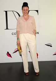 Garance Dore smiled for the camera in a chic petal button-down at the Conversation Launch Celebration at DVF Studio.