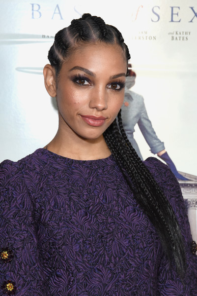 Corinne Foxx Long Cornrows [on the basis of sex,hair,face,hairstyle,eyebrow,lip,beauty,purple,black hair,fashion,dress,arrivals,corinne foxx,tcl chinese theatre,california,hollywood,audi,afi fest,opening night world premiere gala screening]