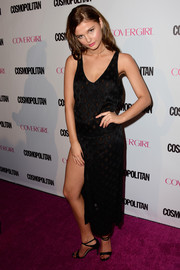 Stefanie Scott showed her edgy, sexy side with this high-slit, see-through lattice LBD during Cosmopolitan's 50th birthday celebration.