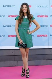 Juana Acosta wore a mod-inspired green dress with purple piping and an embellished white collar.
