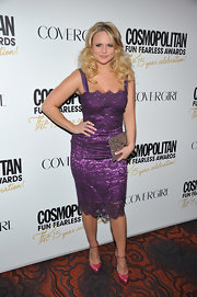 Miranda Lambert wore this lacy purple frock to the Cosmo party.