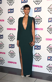 Zawe looked like a caped crusader in this deep-plunging emerald gown at the Cosmo Ultimate Woman of the Year Awards.