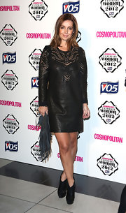 Louise Redknapp wore this unique eyelet leather shift dress for the Cosmo Ultimate Woman of the Year Awards.