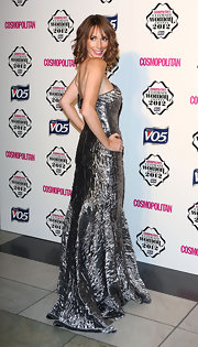 Alex Jones shined at the Cosmo Ultimate Woman of the Year Awards in this crinkled metallic gown.