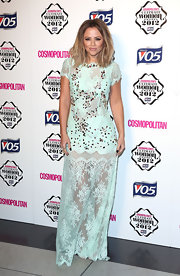 Kimberley looked minty fresh in this sheer lace design at the Cosmo Ultimate Woman of the Year Awards.