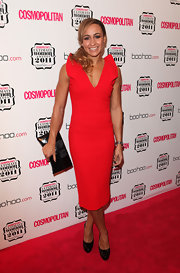 Jessica Ennis donned a red hot cocktail dress paired with black patent leather platform pumps.