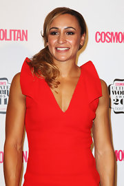 Jessica Ennis wore her hair in a romantic side-swept loose ponytail at the 2011 Cosmopolitan Ultimate Women of the Year Awards.
