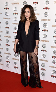 Myleene Klass' top was just as sultry: a plunging black tux jacket with no shirt underneath.