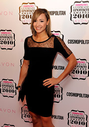 Jessica Ennis wore a timeless little black lace-panel dress to the Cosmopolitan Ultimate Women of the Year Awards.