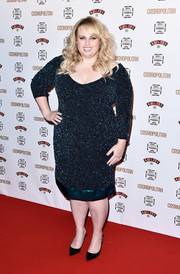 Rebel Wilson glittered in a beaded blue cocktail dress at the Cosmopolitan Ultimate Women of the Year Awards.