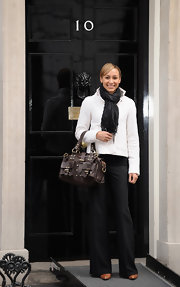 Jessica Ennis finished off her smart ensemble with a chocolate buckled tote at the Cosmopolitan Women of the Year Downing Street Reception.