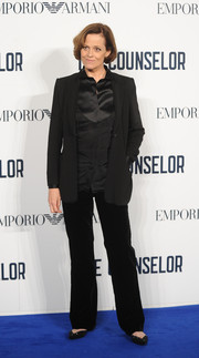 Sigourney Weaver looked subdued in her all-black slacks, button-down, and blazer combo at the screening of 'The Counselor.'