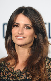 Penelope Cruz left her hair loose with a center part and subtle waves when she attended the screening of 'The Counselor.'