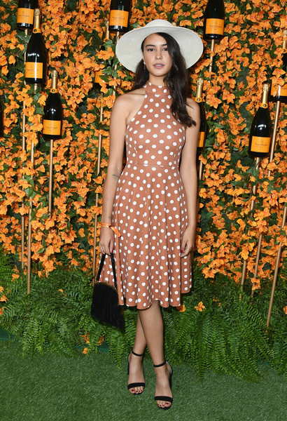 Courtney Eaton Print Dress [clothing,dress,fashion,lady,fashion model,pattern,spring,polka dot,day dress,design,arrivals,courtney eaton,los angeles,pacific palisades,california,will rogers state historic park,veuve clicquot polo classic]
