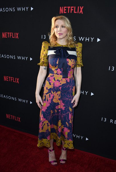 Courtney Love Evening Sandals [13 reasons why,photo,clothing,carpet,red carpet,dress,premiere,fashion,yellow,flooring,fashion design,footwear,arrivals,courtney love,mark ralston,netflix,paramount pictures studio,afp,premiere,premiere]
