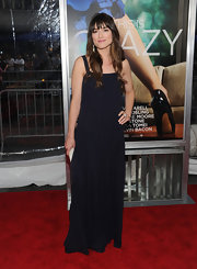Crystal Reed wore a simple black dress to the 'Crazy, Stupid, Love' premiere that she paired with an ivory resin cocktail ring by Miriam Salat.