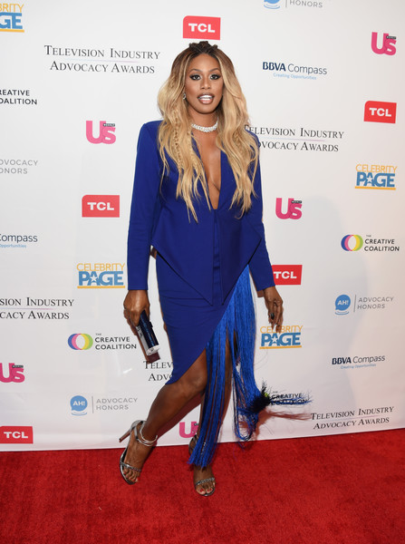 Laverne Cox looked modern and sexy in a cobalt Michael Costello skirt suit with a fringed hem at the 2018 Television Industry Advocacy Awards.
