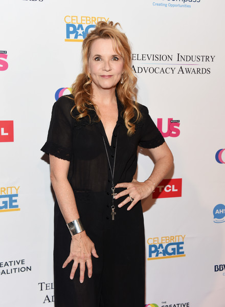 More Pics of Lea Thompson Half Up Half Down (1 of 3) - Updos Lookbook - StyleBistro [clothing,little black dress,hairstyle,dress,long hair,fashion,blond,carpet,premiere,event,arrivals,lea thompson,sofitel los angeles,california,beverly hills,creative coalition,television industry advocacy awards]