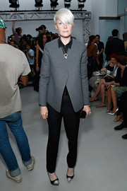 Kate Lanphear looked sharp in a structured gray jacket and black slacks at the Creatures of the Wind fashion show.