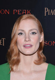 Jessica Chastain wore glamorous asymmetrical waves at the New York premiere of 'Crimson Peak.'
