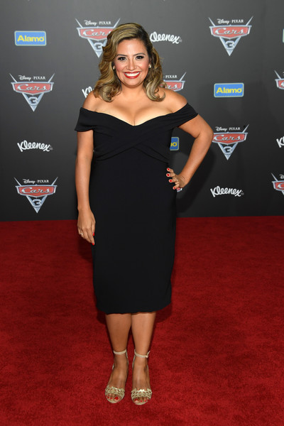 Cristela Alonzo Off-the-Shoulder Dress [dress,clothing,red carpet,carpet,shoulder,cocktail dress,little black dress,premiere,hairstyle,flooring,cars 3,arrivals,cristela alonzo,anaheim convention center,california,disney,pixar,premiere,premiere]