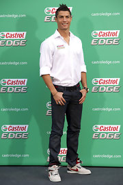 Cristiano opted for a pair of dark jeans while out on the red carpet.