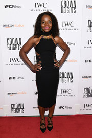 Marsha Stephanie Blake coordinated her LBD with a pair of multi-strap pumps.