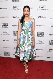 Huma Abedin charmed in a whimsical print dress at the New York premiere of 'Crown Heights.'