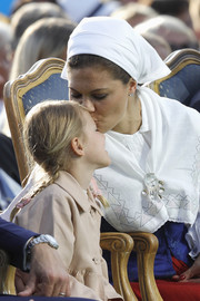 Princess Victoria accessorized with a traditional white head scarf during her 40th birthday celebration in Borgholm.