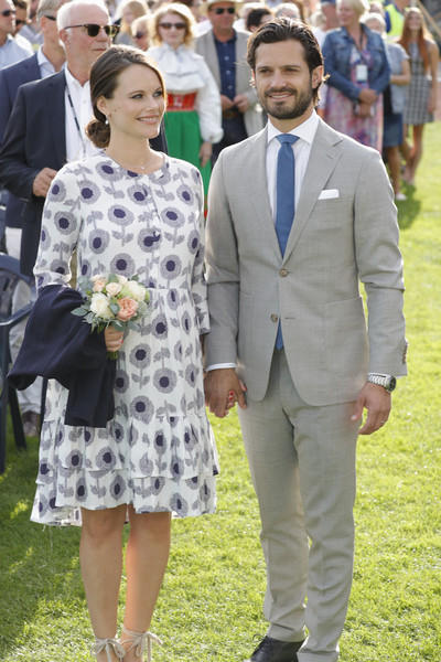 Princess Sofia of Sweden attended Princess Victoria's 40th birthday celebration wearing a maternity dress that featured a blue and gray flower print.