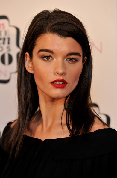 Crystal Renn Red Lipstick [cosmopolitan ultimate women of the year awards 2010,hair,face,lip,eyebrow,hairstyle,beauty,head,chin,skin,black hair,arrivals,crystal renn,cosmopolitan ultimate women of the year awards,england,london,banqueting house]