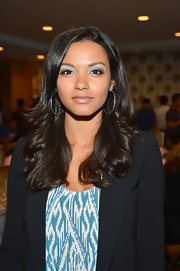 Jessica Lucas accessorized her look with silver hoop earrings at the 'Cult' Comic-Con event.