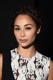 Cara Santana styled her hair into a classic crown braid for the Cushnie et Ochs fashion show.