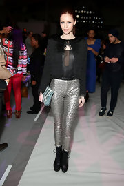 Alyssa Campanelle showed off her sparkle with a pair of silver skinny pants at the Custo Barcelona Fall 2013 runway show.